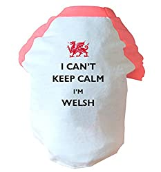 I can't keep calm I'm welsh two toned dog vest pink or blue