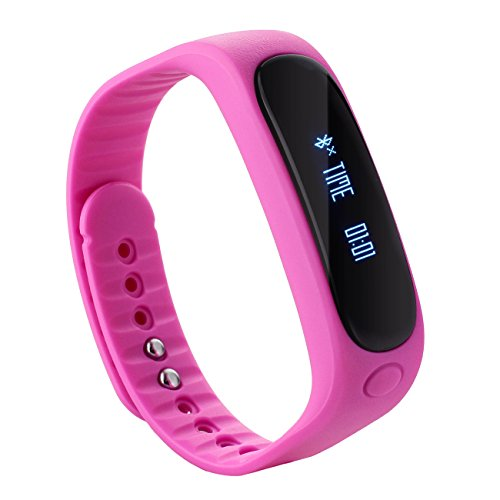 Tera E02 Bluetooth Smart OLED Bracelet Wristband Watch Cell Phone Mate Pedometer Pink with Sleep Steps Distance Calorie Tracking Move Incoming Call Reminder Functions
