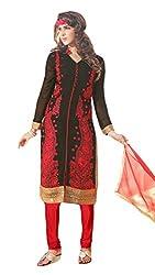 Sree Impex Women Chanderi Semi Stitched Salwar Suit Dress Material (SI-SK-27_Black_Free Size)