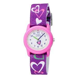 Timex Kids' T7B111 Color INDIGLO Hearts Stretch Band Watch