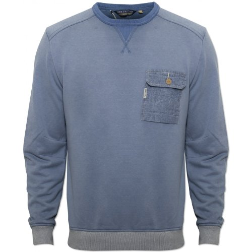 Duck and Cover Mens Blue Minter Jumper Round Neck Elasticated Cuffs and Waist Blue Medium