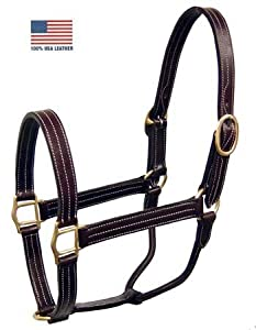 Derby Originals Triple Stitch Turnout Horse Halter USA Leather Black Cob