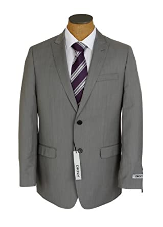 DKNY Mens 2 Button Flat Front Light Gray Weave Trim Fit Wool Suit- Size 48L