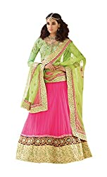 Dlines Pink & Green Embroidered Bridal Lehenga Choli