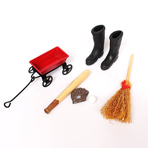 1-12-dollhouse-furniture-cart-baseball-outfit-broom-rain-boots-set-home-accs