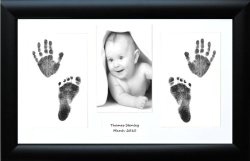 New Baby / Twins Handprint Footprint Prints Kit, Black Frame