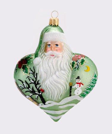 4.5″ David Strand Designs Glass Green Heart of Christmas Snowfall Santa Ornament