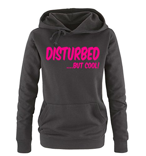 Comedy Shirts - DISTURBED BUT COOL! - Donna Hoodie cappuccio sweater - nero / fucsia taglia L