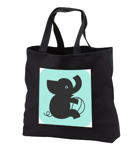 Tnmgraphics Animals - Silhouette Of Baby Elephant And Toy - Tote Bags - Black Tote Bag Jumbo 20W X 15H X 5D front-1040052