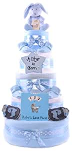 5 Tier Luxury Deep Filled Baby Boys Hamper gift Nappy Cake - Blue - FAST DELIVERY!