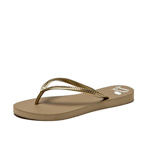 Mesdames américaines strass fashion goupille serrage en tongs d'été/Chaussures sandales plates/