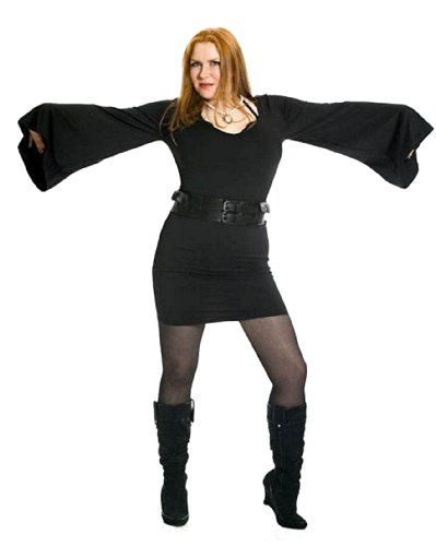 Gothic Witch Bad-Fairy Fancy Dress Stretchy Bell Sleeve Dress. Sizes 10-16