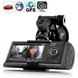 """Écran 2,7""""5MPx avec double caméra de voiture avec enregistreur de position (GPS) et capteur G X3000 Noir caméra de voiture"""