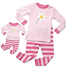 Leveret Matching Doll & Kid Flower 2 Piece Pajama 5 Year