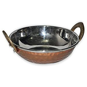 Amazon.com: Indian Copperware Serving Karahi Dinnerware: Kitchen ...