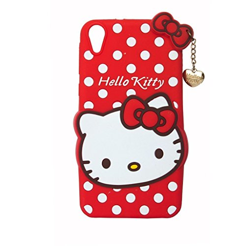 CLASSICO Hello Kitty 3D Embossed Designer Soft Back Case Cover With Golden Pendant For HTC Desire 820/826 (Red)
