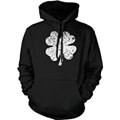 Faded Shamrock Mens Sweatshirt Ireland Pride Four Leaf Clover St. Patricks Day Pullover Hoodie