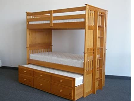 Twin over Twin Bunk Bed with Trundle and Drawers