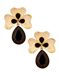 The Jewelbox Antique 18k Gold Plated Black Crystal Large Flower Earring For Women