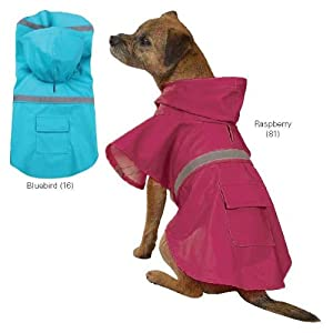 PE Vinyl Dog Rain Coat Hooded Medium Bluebird
