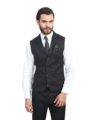 ManQ Black Single Breast Three Button Slim Fit Party/Formal Men's Waist Coat