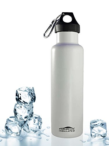 White 21 Oz Double Wall Vacuum Insulated Thermal Bottle Personal Hydration Eco Friendly Sports Water Bottle Keeps Your Water Cold for 24 Hours and Hot for 12 Hours!!! Does Not Sweat! Perfect for Yoga, Soccer, Basketball, Fitness, Exercise, Football, Golf, Outdoor, Hiking, Rock Climbing Hunting, Fishing, Softball, Baseball Too! Maximum Chill Factor