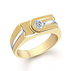 VK Jewels Flat Design Gold and Rhodium Plated (CZ) Solitaire Ring for Women - FR1093G Size 19 [VKFR1093G19]