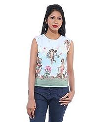 Avakasa Polyester White Printed Partywear Sleeveless Sleeves Top (top-09-white)