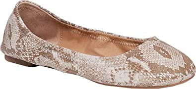 Lucky Brand Women's Emmie Flat,Bisque Snake Print Leather,US 6 M