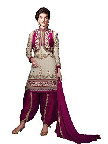 Light Brown Georgette Party & Wedding Wear Heavy Zari Embroidery Patiala Suit 3105