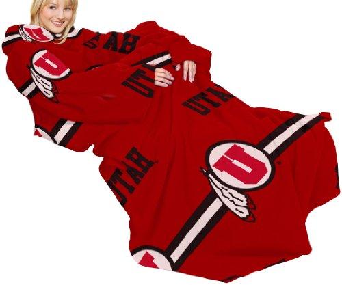 Ncaa Utah Runnin Utes Comfy Throw Blanket With Sleeves, Stripes Design