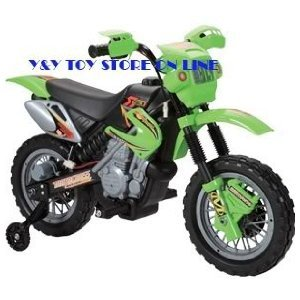 KID'S RIDE ON RECHARGEABLE GREEN SCRAMBLER/MOTORCROSS STYLE MOTORBIKE WITH 2 STABILISERS
