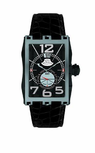 Gio Monaco Men's 595-A Mac V Rectangular PVD Coated Side Alligator Leather Watch