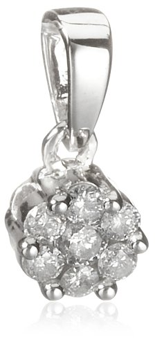 9ct White Gold 7 Stone Cluster 0.25 Diamond Pendant