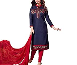 Neets Fashion Women's Cotton Semi Stitched Dress Material(GAU-Vol-21-01_Blue)