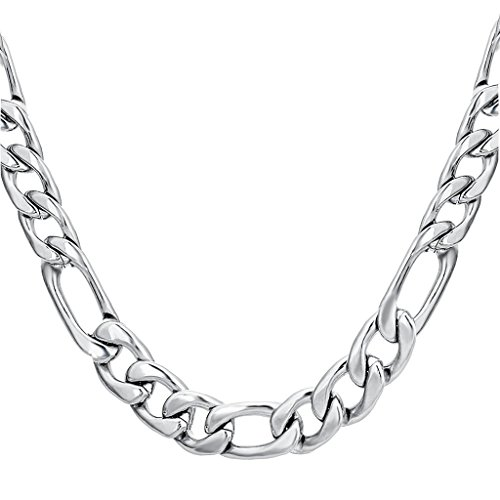FIBO STEEL Stainless Steel Mens Womens Necklace Figaro Chain 9mm Wide, 30 inches (9mm Stainless Steel Necklace compare prices)