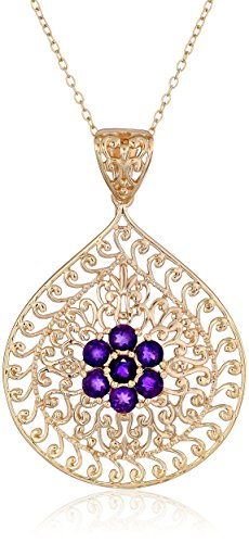 18k Yellow Gold Plated Sterling Silver African Amethyst Flower Pendant Necklace, 18""