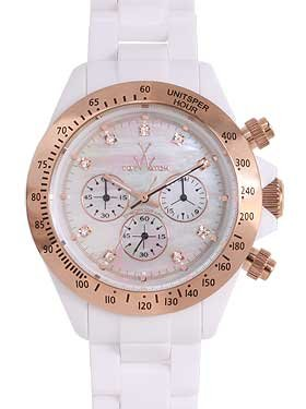 Amazon.com: Toy Watch Plasteramic White Rose Gold Chronograph ...