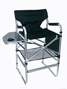 PROFESSIONAL Tall Lightweight Folding Directors Chair With Side Table Footre