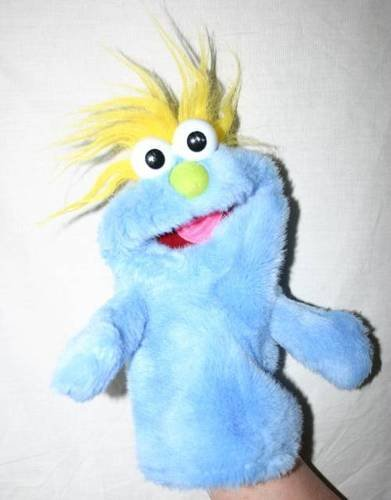 Vintage 2000 Workman Jim Henson's Muppets Go To Bed Fred Blue Monster Plush Hand Puppet - 1