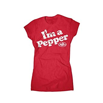 Dr. Pepper Soft Drink I'm a Pepper Distressed Red Juniors T-Shirt (Juniors XX-Large)