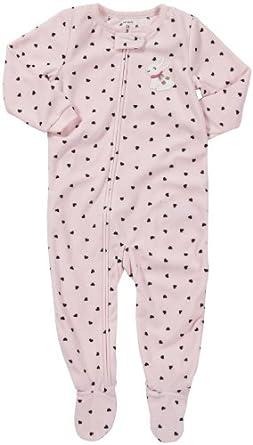 Carter's Girls 1-piece Micro-fleece Pajamas (2T, Pink Hearts)