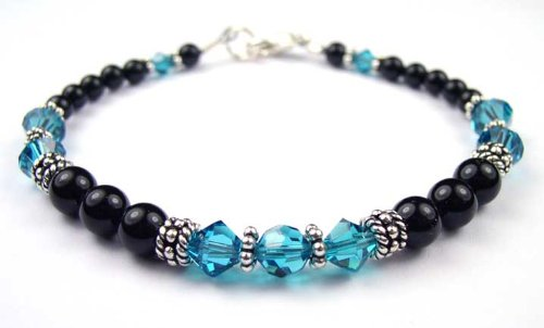 Blue Zircon Bracelets: Sterling Silver Beaded Swarovski Crystal Black Pearl Bracelets