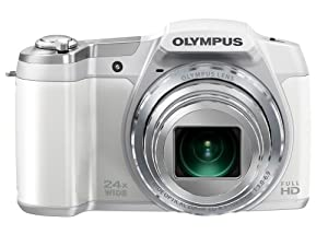 Olympus Stylus SZ-16 iHS Digital Camera with 24x Optical Zoom and 3-Inch LCD (White)