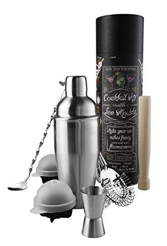 Kit de Cocktail eKitch | Kit de Cocktail en Acier Inoxydable avec 2 moules à glace en silicone | Kit de création de cocktails Mojito Cosmopolitan | shaker 750ml, pilon, agitateur et verre à mesure.