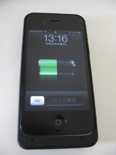 iPhone4 専用 バッテリー付き保護ケース 黒 大容量1900mAh 日本語説明書付き