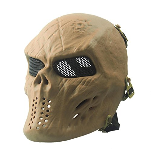 [EKIMI Mask Airsoft Paintball Full Face Skull Skeleton CS Mask Tactical Military Halloween (Khaki)] (Jigsaw Costume Face Paint)
