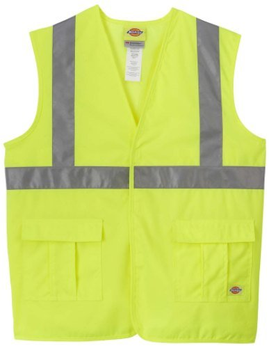 Dickie's VE201AY High Visibility Yellow ANSI Class 2 Utility Vest, Large