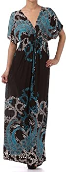 Sakkas Paisley V-Neck Cap Sleeve Empire Waist Long / Maxi Dress