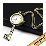 TOOGOO(R) Antiqued Brass VINTAGE STYLE Skeleton Key LOCKET WATCH Pocket Watch NECKLACE